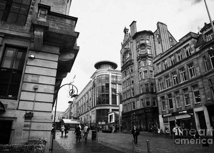 Buchanan Greeting Card featuring the photograph Buchanan Street Shopping Area On A Cold Wet Day In Glasgow Scotland Uk by Joe Fox