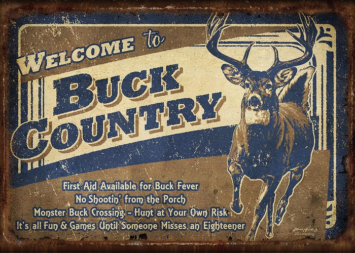 Wildlife Greeting Card featuring the painting Buck Country Sign by JQ Licensing