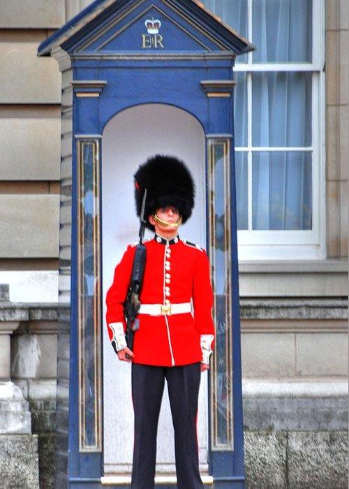 London England Greeting Card featuring the digital art Buckingham Palace by Barry R Jones Jr