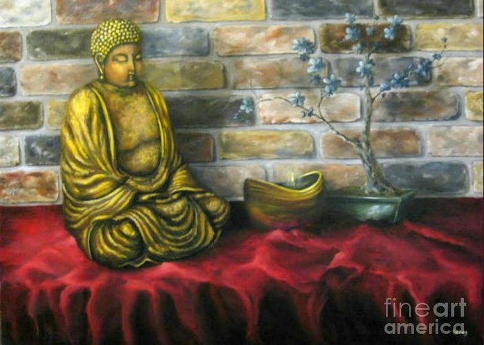 Buddha Greeting Card featuring the painting Buddha And Candle by Patricia Lang