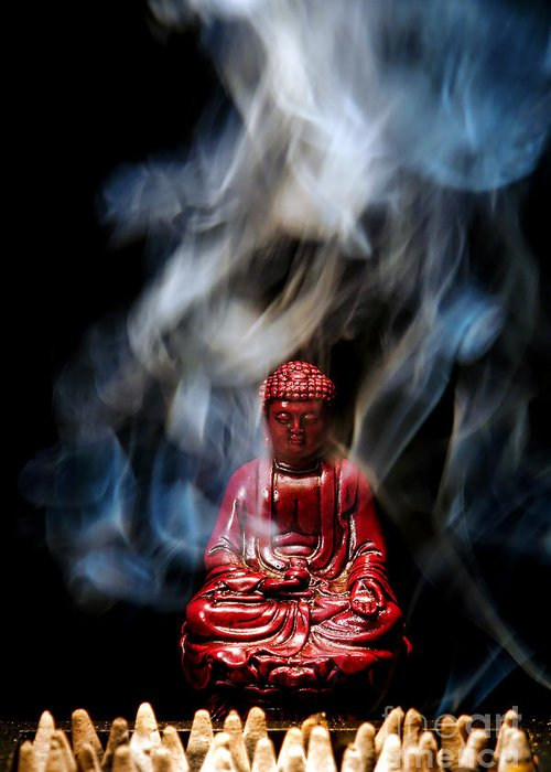 Buddha Greeting Card featuring the photograph Buddha In Smoke by Olivier Le Queinec