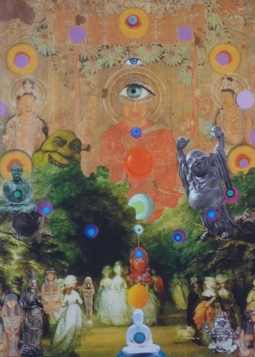 Buddha Greeting Card featuring the mixed media Buddha's Garden Party by Douglas Fromm