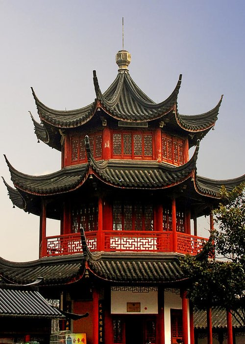 Pagodas Greeting Card featuring the photograph Buddhist Pagoda - Shanghai China by Christine Till