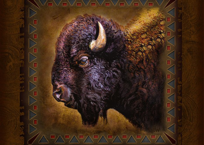 Wildlife Buffalo Lodge Cabin Tribal Adirondack Decorative Western Woodland Joe Low Jq Licensing Jon Q Wright Cub Woodland Outdoors Animal Trees Sporting Art Hunt Hunting Big Game Plains Prairie Grass Lands Badlands Wyoming Montana Utah Dakota Greeting Card featuring the painting Buffalo Lodge by JQ Licensing