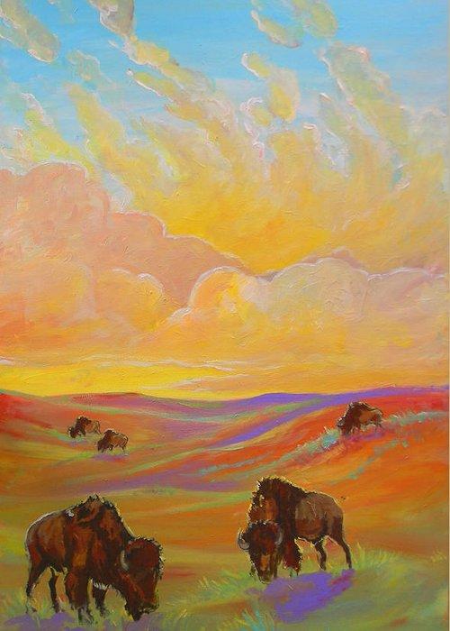 Buffalo Greeting Card featuring the painting Buffalo Sunrise by Jenn Cunningham