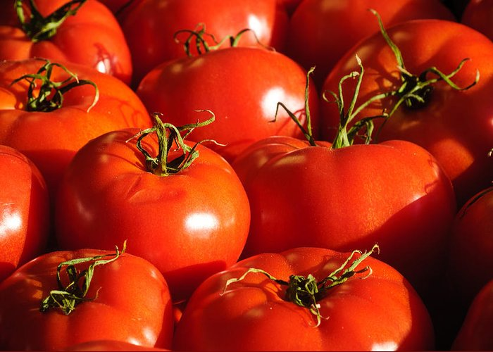Harvest Greeting Card featuring the photograph Bunch Of Tomatoes by Connie Cooper-Edwards