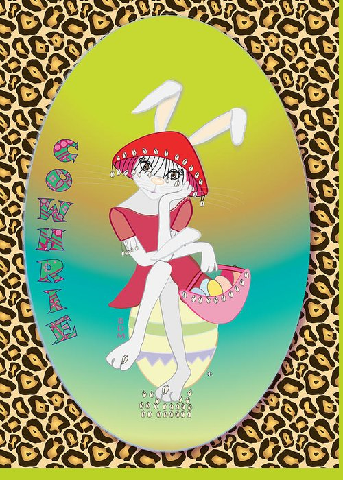 Bunnie Greeting Card featuring the digital art Bunnie Girls- Cowhrie- 3 Of 4 by Brenda Dulan Moore