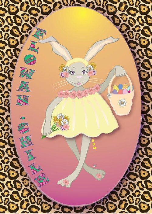 Bunnie Greeting Card featuring the digital art Bunnie Girls- Flowah Chile 1 Of 4 by Brenda Dulan Moore