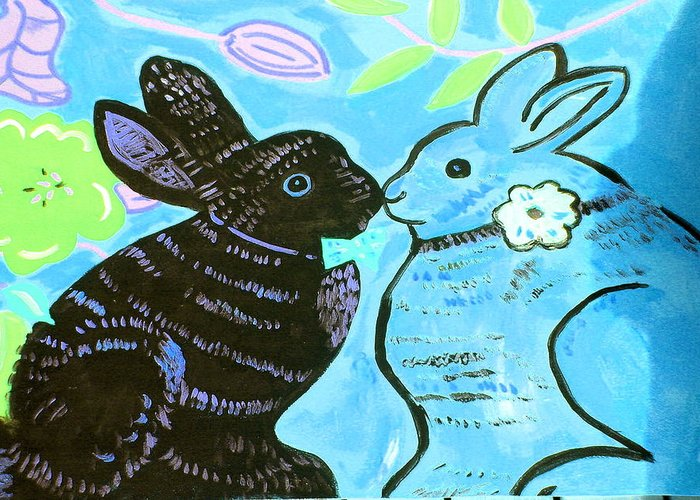 Art Greeting Card featuring the painting Bunnies In Love by Patricia Lazar