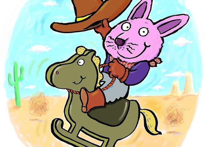 Scott Nelson Greeting Card featuring the digital art Bunny Cowboy by Scott Nelson
