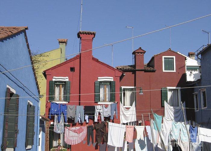 Linge Sechant Greeting Card featuring the photograph Burano. Venice by Bernard Jaubert
