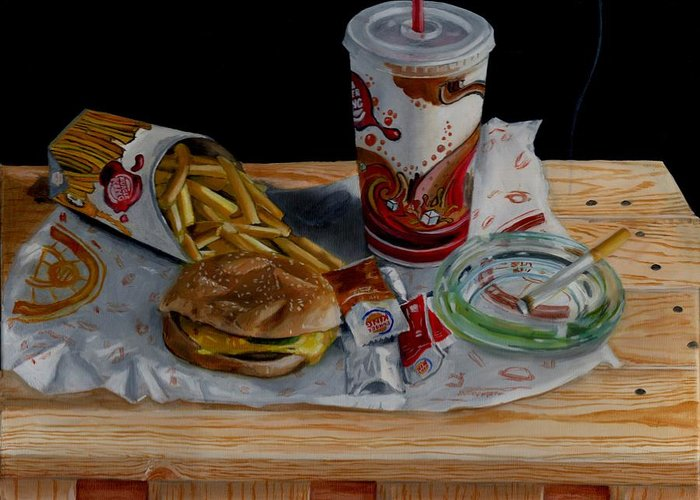 Still Life Greeting Card featuring the painting Burger King Value Meal No. 1 by Thomas Weeks