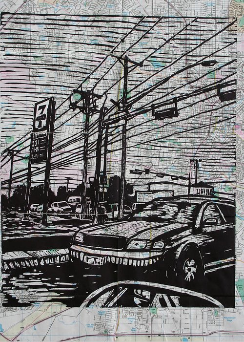 Lino Greeting Card featuring the drawing Burnet Road by William Cauthern