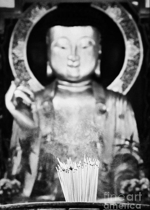 Burning Greeting Card featuring the photograph Burning Incense In A Buddhist Temple Sha Tin China Hong Kong by Joe Fox
