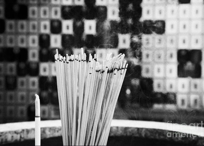 Burning Greeting Card featuring the photograph Burning Incense In A Columbarium Of Po Fook Hill Cemetery Sha Tin Hong Kong China by Joe Fox