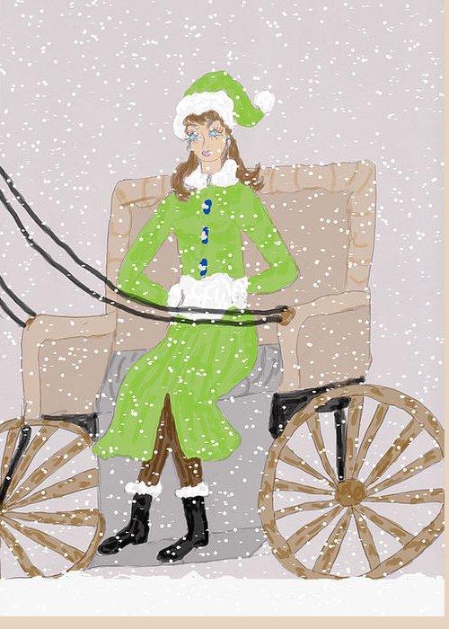 Lady Greeting Card featuring the drawing Burrrrrr by Rosalie Scanlon