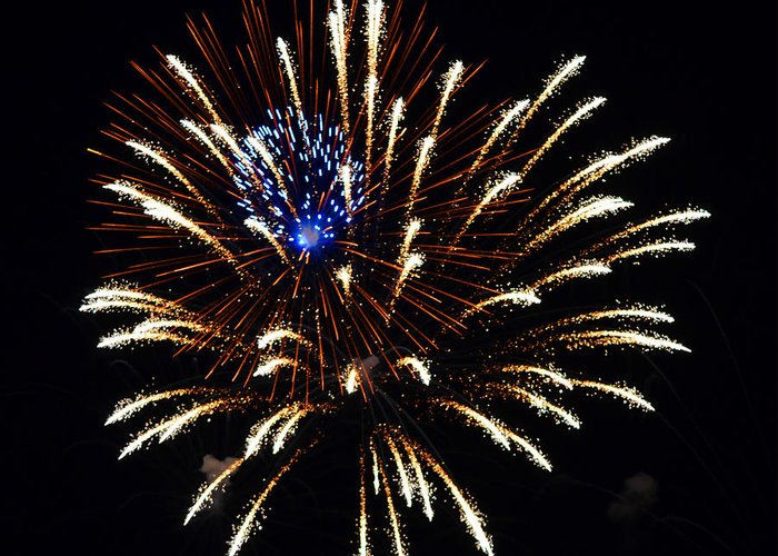 Fireworks Greeting Card featuring the photograph Bursting Out With Color by Sandi OReilly