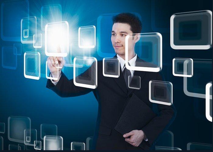 Business Greeting Card featuring the photograph Businessman Pressing Touchscreen by Setsiri Silapasuwanchai