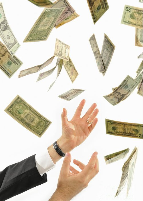 People Greeting Card featuring the photograph Businessman's Hands Trying To Catch Us Dollars by Sami Sarkis