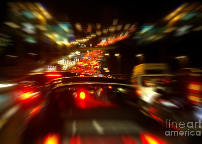 Asphalt Greeting Card featuring the photograph Busy Highway by Carlos Caetano