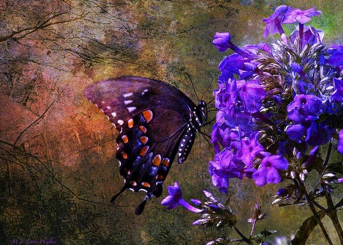 J Larry Walker Greeting Card featuring the digital art Busy Spicebush Butterfly by J Larry Walker