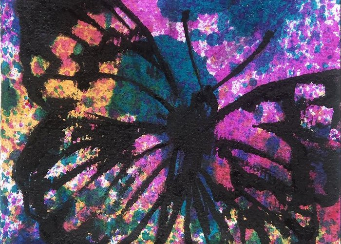 Art Greeting Card featuring the painting Butterfly Bliss by Oddball Art Co by Lizzy Love