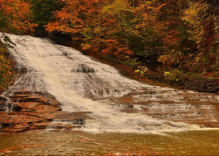 Buttermilk Falls Sate Park New York Greeting Card featuring the photograph Buttermilk Falls Sate Park New York by Puzzles Shum