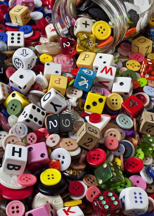 Glass Jar Greeting Card featuring the photograph Buttons And Dice by Garry Gay