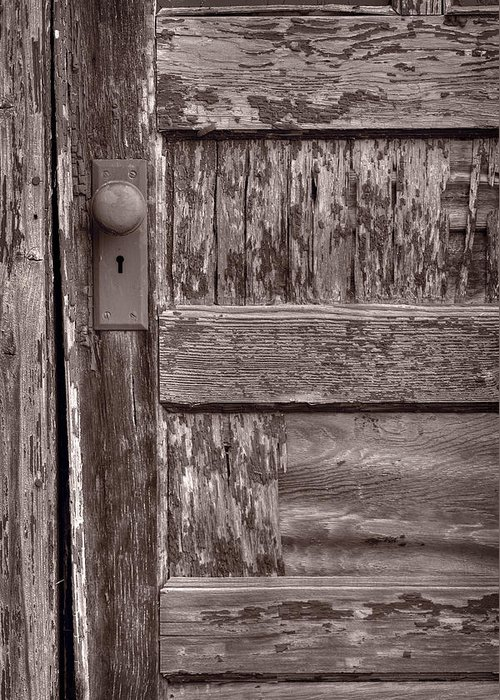 Door Greeting Card featuring the photograph Cabin Door Bw by Steve Gadomski
