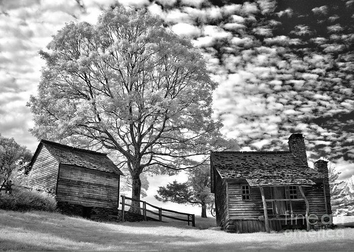 North Carolina Greeting Card featuring the photograph Cabin Under Buttermilk Skies I by Dan Carmichael