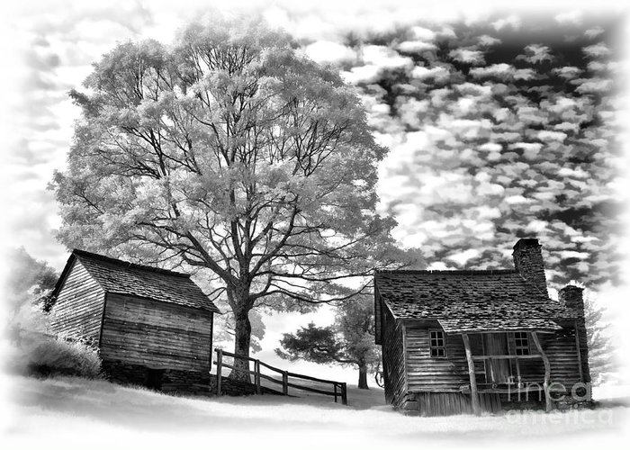 North Carolina Greeting Card featuring the photograph Cabin Under Buttermilk Skies Vignette by Dan Carmichael