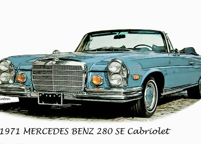 Mercedes Benz Greeting Card featuring the digital art Cabriolet by Larry Linton
