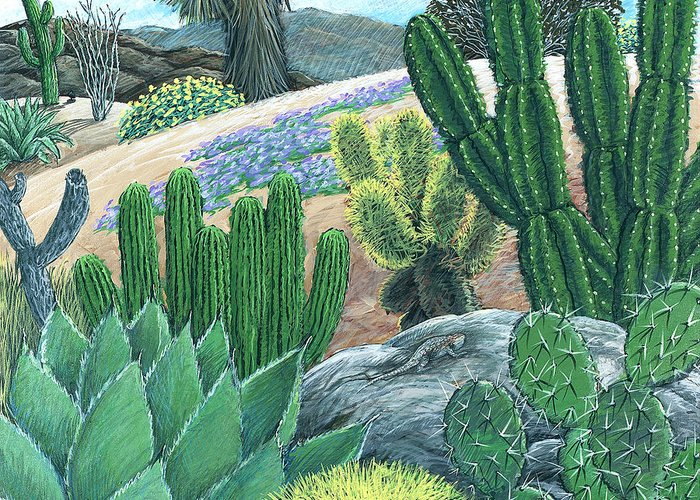 Cactus Greeting Card featuring the painting Cactus Garden by Snake Jagger