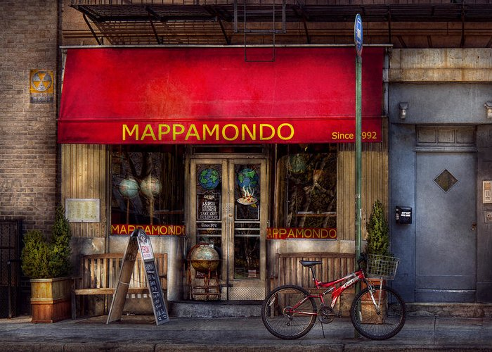 Bike Greeting Card featuring the photograph Cafe - Ny - Chelsea - Mappamondo by Mike Savad
