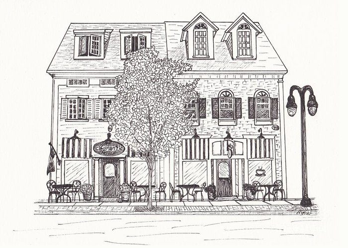 Architectural Drawing Greeting Card featuring the drawing Cafe Mantic by Michelle Welles