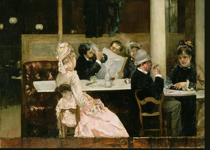 Cafe Greeting Card featuring the painting Cafe Scene In Paris by Henri Gervex