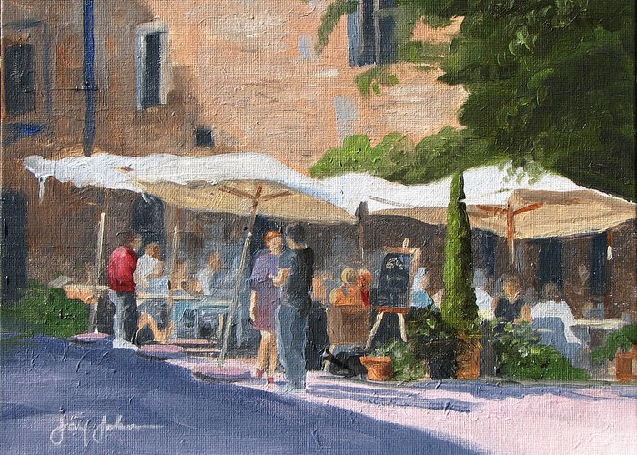 Landscape Greeting Card featuring the painting Cafe Senna by Jay Johnson