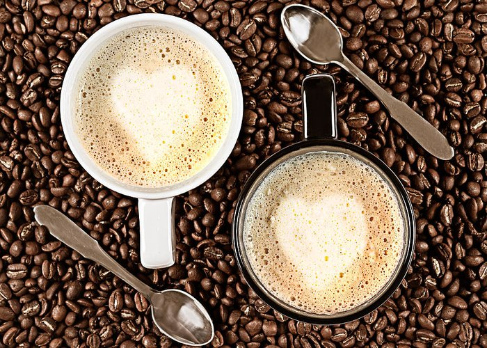 Aroma Greeting Card featuring the photograph Caffe Latte For Two by Gert Lavsen