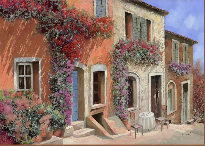 Caffe Greeting Card featuring the painting Caffe Sulla Discesa by Guido Borelli
