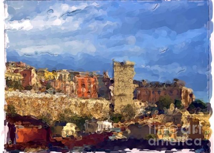 Landscapes Greeting Card featuring the painting Cagliari - Sardinia by Franck Guarinos