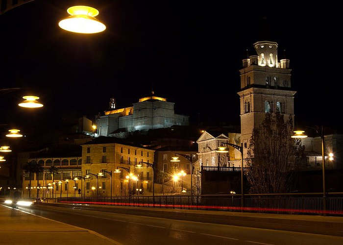 Calahorra Greeting Card featuring the photograph Calahorra Cathedral At Night by RicardMN Photography