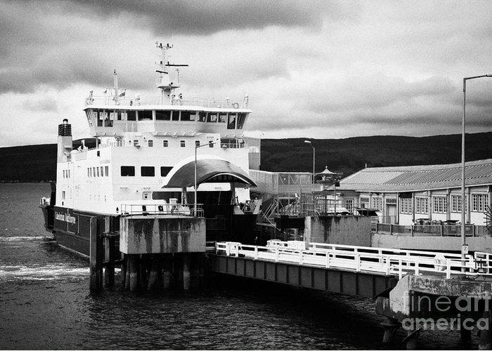 Caledonian Greeting Card featuring the photograph Caledonian Macbrayne Rothesay Ferry At Wemyss Bay Scotland Uk by Joe Fox