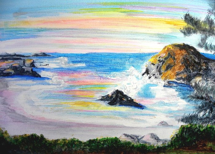 California Coast Greeting Card featuring the painting California Coast by Susan Clark