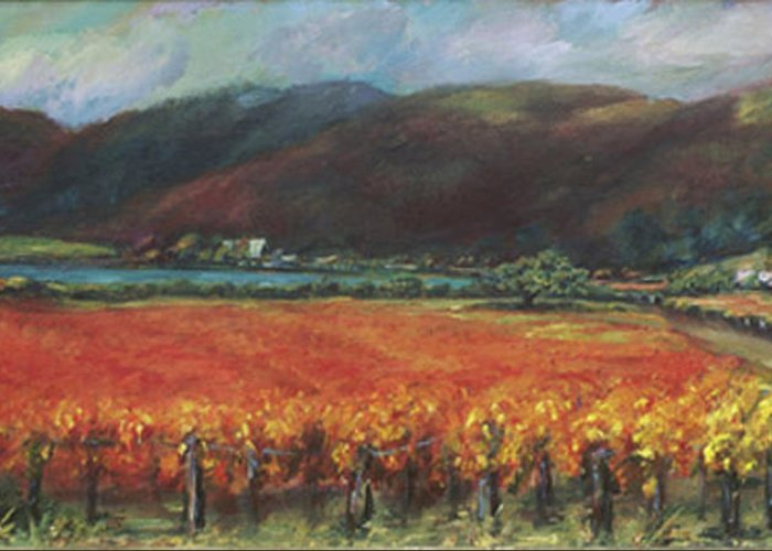 Napa Valley Greeting Card featuring the painting Calistoga Vineyard In Napa Valley By Deirdre Shibano by Deirdre Shibano
