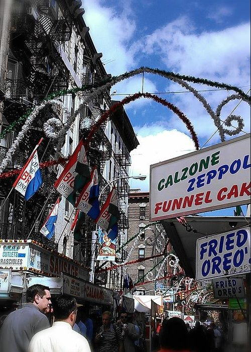 Feast Of San Gennaro Greeting Card featuring the photograph Calzone Time by Catie Canetti
