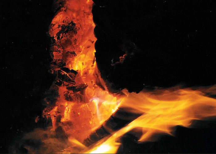 Fire Greeting Card featuring the photograph Campfire Apparition by Christy Usilton