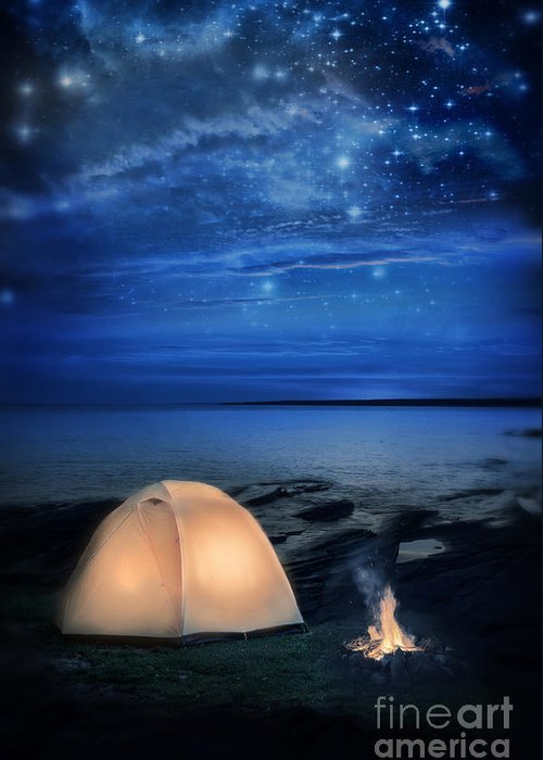 Camp Greeting Card featuring the photograph Camping Tent By The Lake At Night by Jill Battaglia