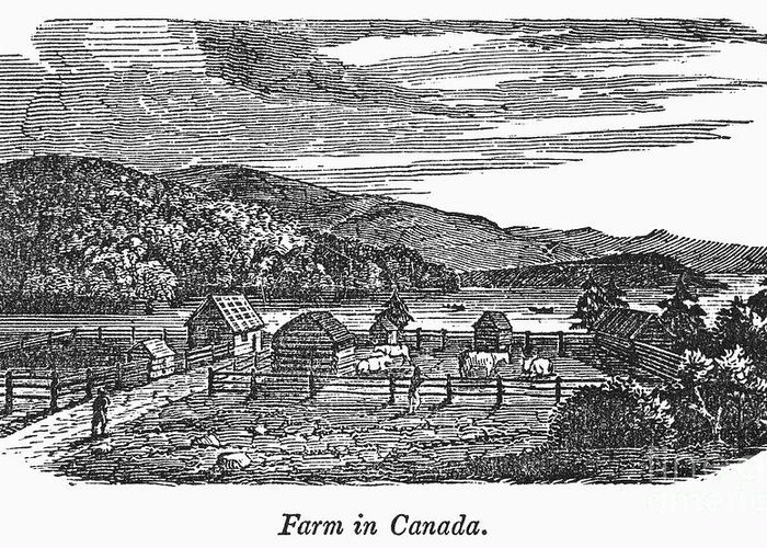1820 Greeting Card featuring the photograph Canada: Farm, C1820 by Granger