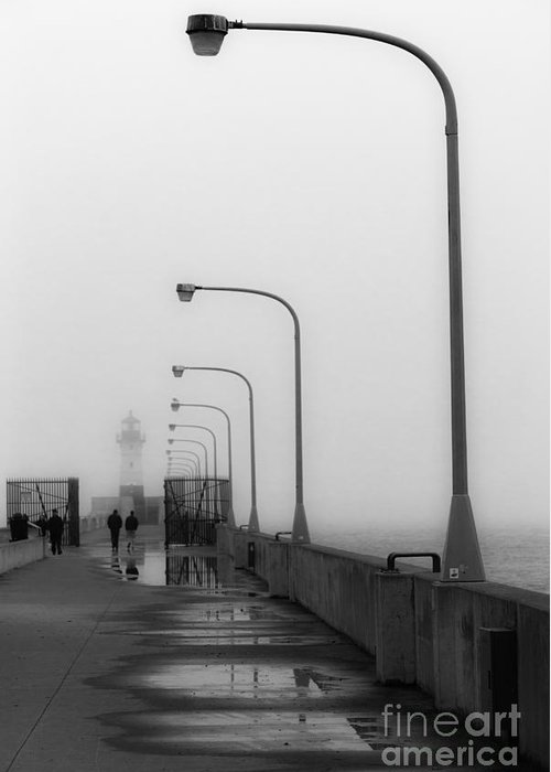 Lighthouse Greeting Card featuring the photograph Canal Park Lighthouse In Fog by Ever-Curious Photography