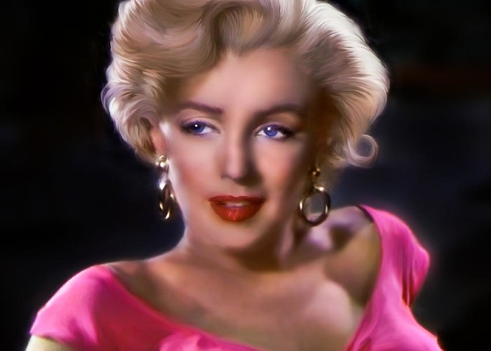 Marylin Monroe Greeting Card featuring the digital art Candle In The Wind by Julie L Hoddinott